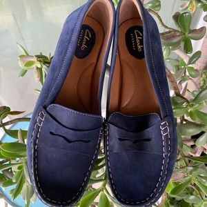 Clarks loafer moccasins blue suede 10 new
